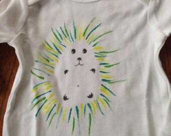 Hetty the Hedgehog Onesie - Hand Painted- Non toxic ink - No Vinyl