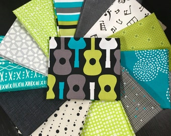 Guitar and Music Fabric Collection - Curated Fat Quarter Bundle by Needle in a Fabric Stash - 13 Fat Quarters