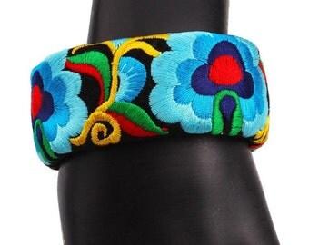 Embroidered Cuff Bracelet Vintage Style Color-Blue