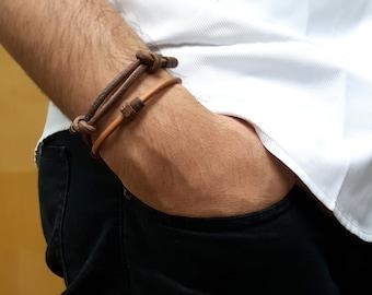 Wood X Leather bracelet, Wood bracelet, leather bracelet, simple, gift for her, gift for him