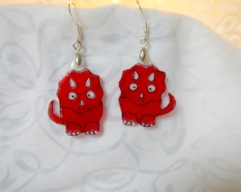 """triceratops earrings, 100% recycled plastic """"shrinky dink"""""""