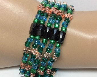 Green, Blue, Copper and Gold Magnetic Bracelet, Necklace, Headband or Anklet