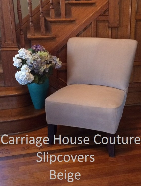 Slipcover Beige Suede Stretch Chair Cover By