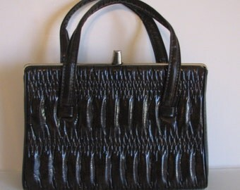 1960s Purse Brown Kelly Bag Ruched