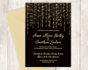 Elegant Wedding Invitation / Great Gatsby Bokeh String Light Sparkle / Black and Gold Calligraphy ▷ Printable File {or} Printed & Shipped