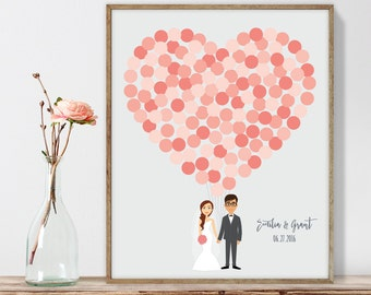 Wedding Guest Book Alternative Poster DIY  / Personalized Couple Illustration / Coral Balloon Heart / Custom Illustration ▷ Printable PDF
