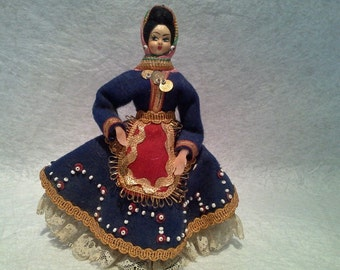 Greek Rhodos Doll with Hand-Painted Face on Fabric ~ Traditional Costume