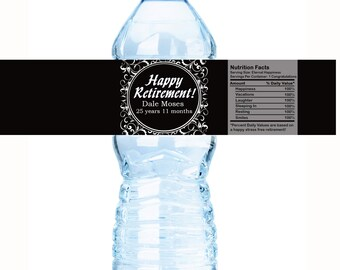 """Retirement Ornate Water Bottle Labels - Select the quantity you need below in the """"Pricing & Quantity"""" option tab"""