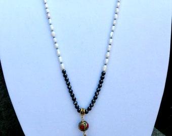 Tibet Black Horn Hematite Pearl Necklace