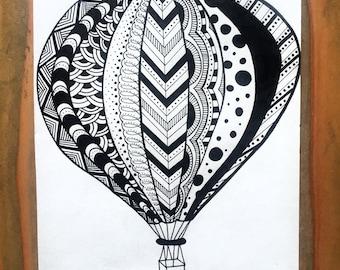 Hot Air Balloon Zentangle