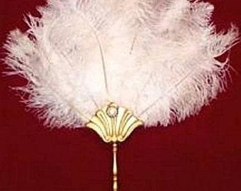White Renaissance Ostrich Feather Fan