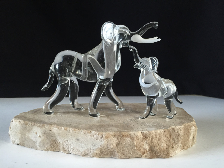 Handblown Glass Elephant Baby Sculpture