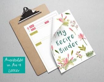 Printable Floral Recipe Binder -- Instant Digital Download