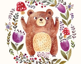FUNNY BEAR and flowers in watercolor technique. Fine art PRINT. Beautiful print for living room or kids room.