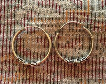 Sterling Silver Earrings...Sterling Silver Hoops...Handmade Vintage Earrings...Ethnic...Hippy...Gypsy...LV93