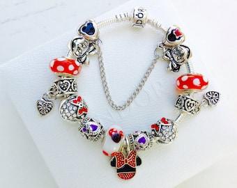 Jewelry Disney Pandora charms Bracelet Disney Charms, European bracelets, Disney Beads ,Mickey charms for Pandora Bracelet, Red, mini charms