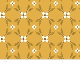 Floral Lattice in Mustard, 100% Cotton Fabric, Quilting Fabric - Fat Quarter
