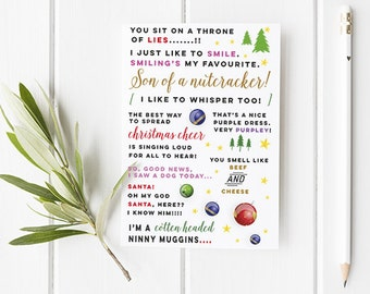 Elf Inspired Christmas Card - Funny Christmas Card With Lots Of Quotes