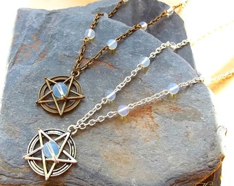 Opalite Pentagram Pendant Necklace, Pentacle, Wiccan Necklace, Beaded Pentagram, Pagan, Wicca Charm, Goth Jewelry, Gothic, Silver or Bronze