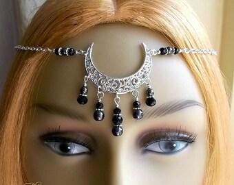 Black Moon Circlet, Hematite Moon Headpiece, Wiccan Headpiece, Pagan Headdress, Crescent Moon Head Chain, Silver Moon, Wicca, Witch, Boho
