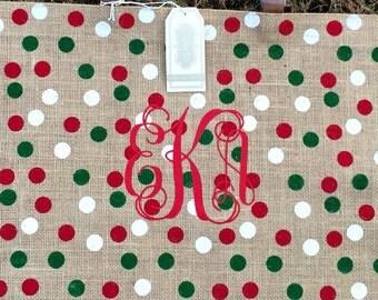 Monogrammed Mud Pie Burlap Christmas Tote Bag