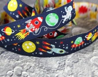 1m woven ribbon: space boy