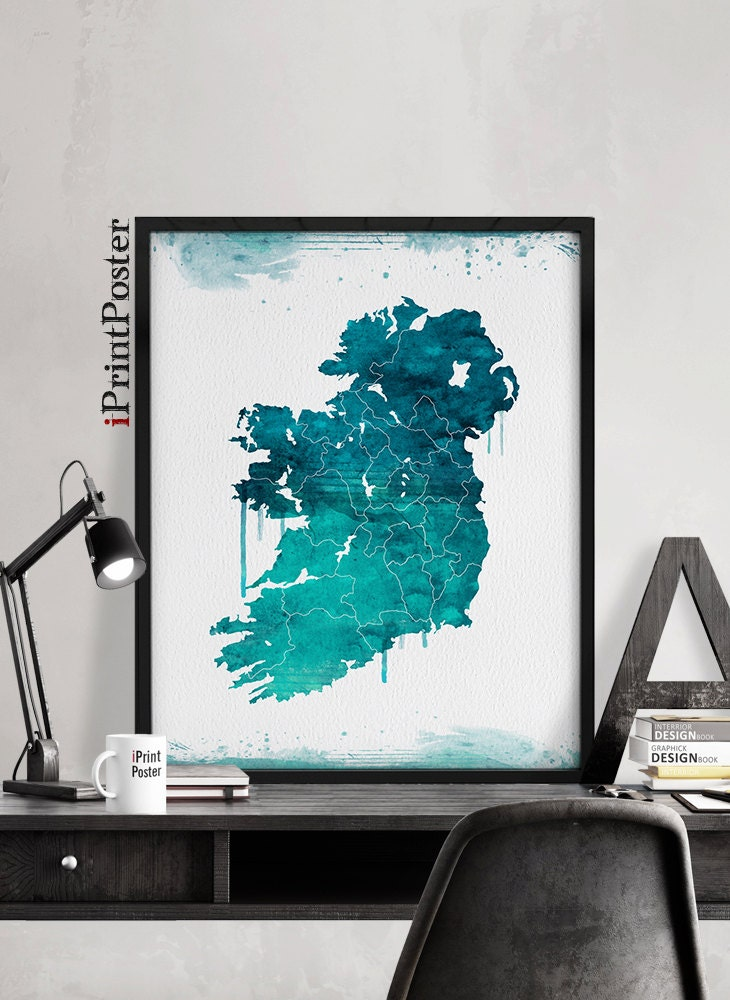 Ireland map print watercolor map poster ireland map for Home decorations ireland
