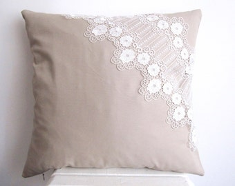 Cotton Pillow Cover Lace Pillow Case Decorative Pillow Beige Cushion Cover Lace Pillow Cover Couch Pillow Accent Beige Throw Pillow 18''
