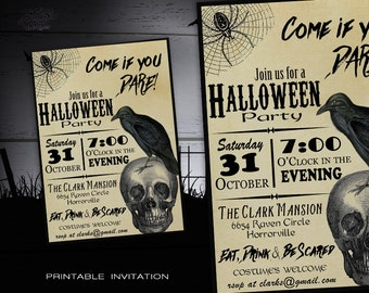 Halloween Invitation Printable - Adult Costume Party Halloween Invitations - DIY Printable Vintage Halloween Party Invites w/ Skull & Crow