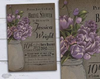 Wedding Shower Invitations Printable, Rustic Bridal Shower Invites, Country Bridal Shower Invites, Summer Purple Peonies in Mason Jar DIY