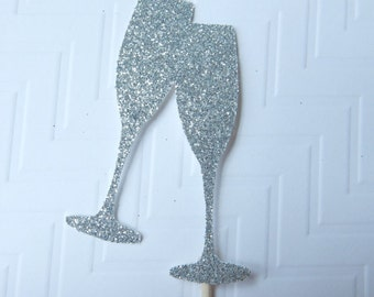 Glitter wedding/bridal/birthday/engagement/ celebration/ new years/champagne glass cupcake topper