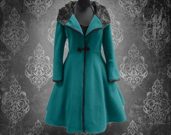 Coat Hand-crafted winter coat wide swing 50s Style coat