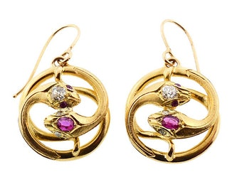 Victorian 18K Gold, Diamond & Ruby Snake Earrings