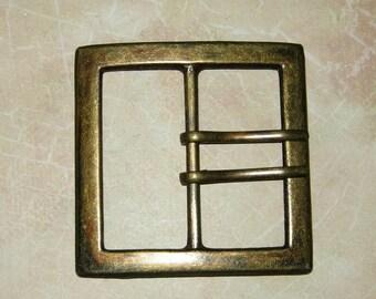 Large Metal Belt Buckle, Brass Finish