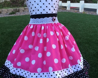 Minnie Mouse dress, Minnie Mouse Birthday Dress, Pink Minnie Mouse Dress