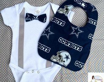 Dallas Cowboy onesie, Dallas Cowboy bowtie and suspender onesie and bib, dallas cowboy bib