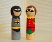 Batman and Robin Peg Dolls