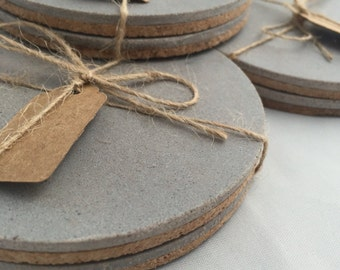Concrete Coasters Multibuy Discounts Hand Made Round Cork Bottom