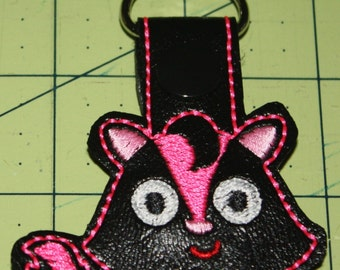 Girly Skunk Key Chain, Zipper Pull, Purse Charm, Snap Tab -  Great Accessory!