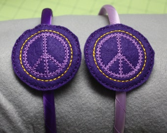 Peace Sign slider headband, Hair accessory, Felt headband, Embroidered headband
