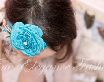 Blue or White headband with crystals, pearls and lace 520038