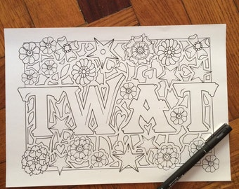 Sweary Coloring Book Download : Sweary coloring book Digital download 30 PagesSwear Words