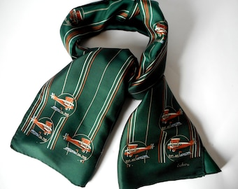 Vintage ECHO Scarf, Silk Scarf, Printed Planes and Stripes, Hand rolled,  Designer scarf