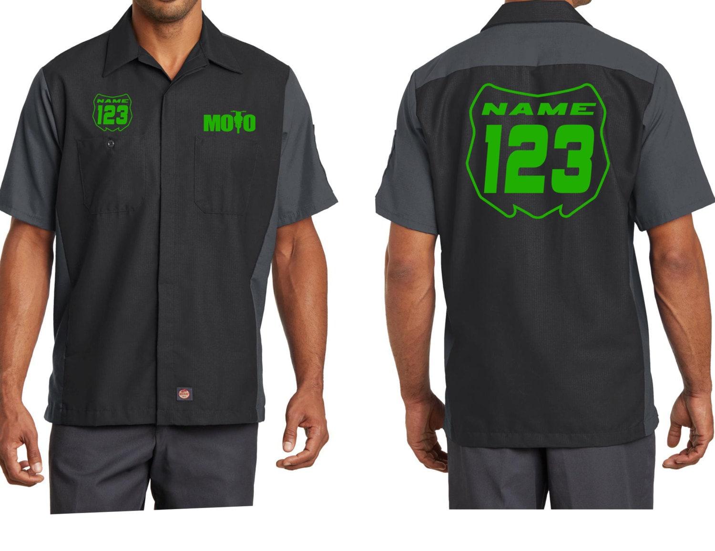 moto mechanic work shirts with custom name by
