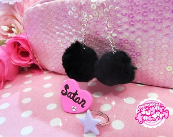 Cute Pastel Goth Pompon Jewelry Set