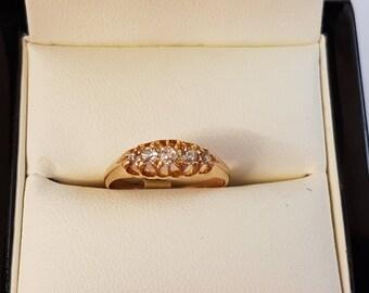 18ct Yellow Gold 5 Stone Diamond Ring Size L