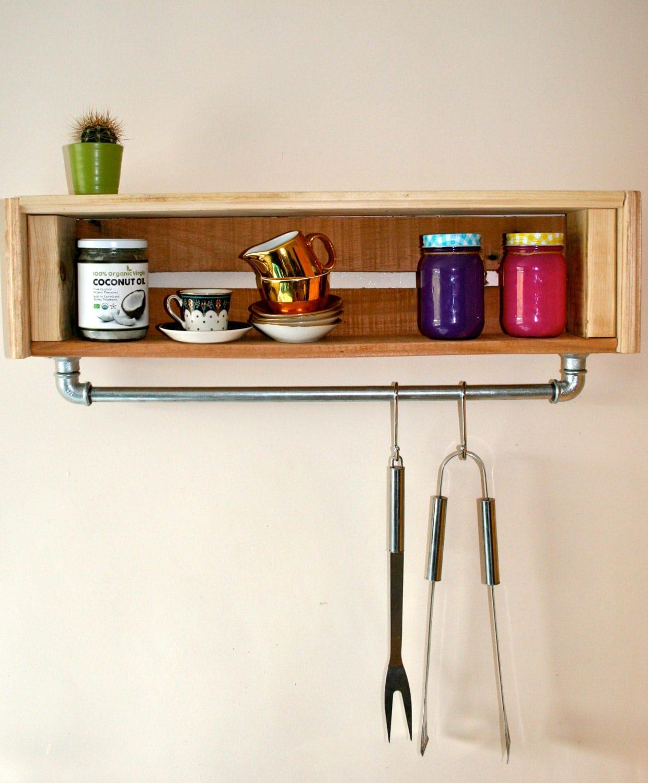 Kitchen shelf storage hanging steel rail unit wall display for Kitchen display wall