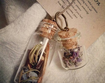 Custom Crafted Intention Bottle / Spell Jar - full of earth magic and herb lore