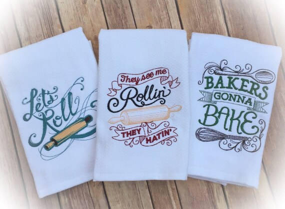 Unique Bridal Shower Hostess Gift Ideas : towels, fun hostess gift, embroidered dish towels, Bridal shower gift ...