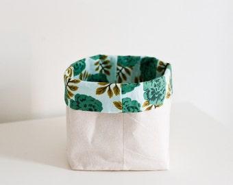 teal floral bin